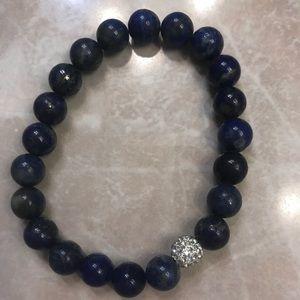 Blue lapis color stretch bracelet